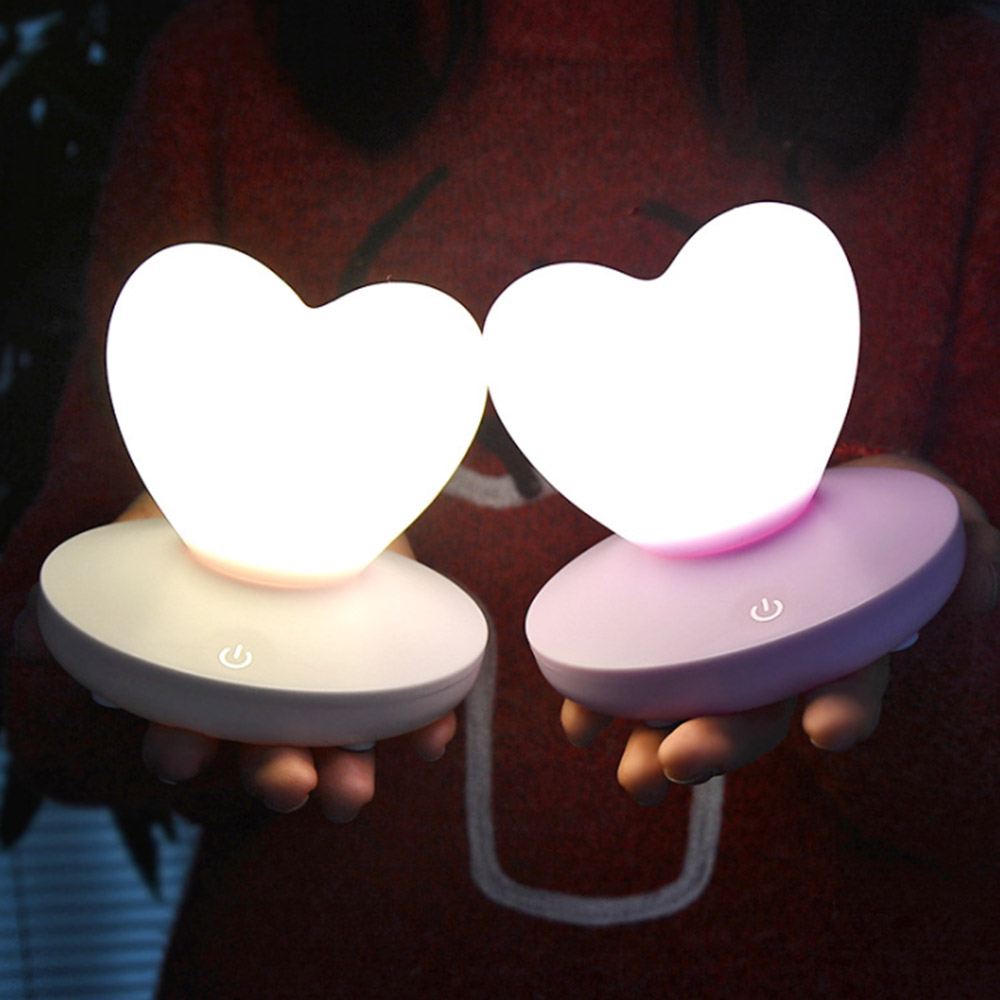 Bedroom Night Lamp Cute Heart Silicone LED Night Light Rechargeable Touch Sensor LED Bedside Light for Children Baby Kids Gift lumiparty touch cute dolphin usb rechargeable children night light baby whale multicolor led light silicone pat lamp bedside