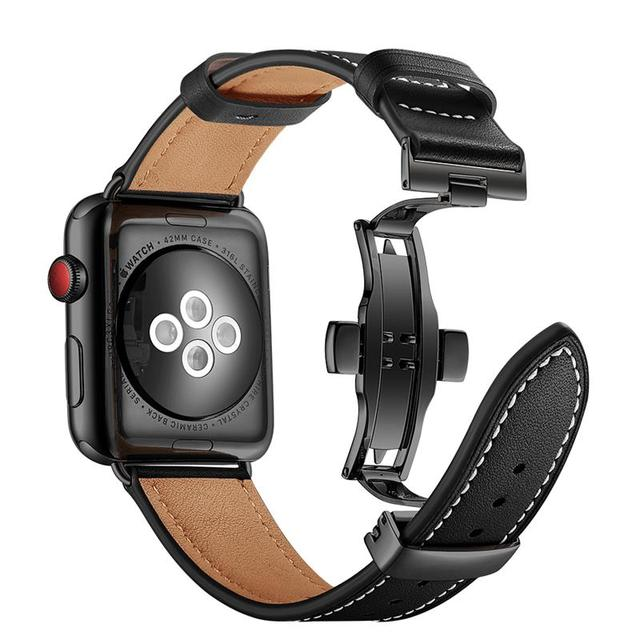 High quality Leather Band for Apple Watch Series 4 44mm 40mm Black Butterfly clasp Wrist Bracelet Strap for iWatch 3/2/ 42 38mm | Watchbands