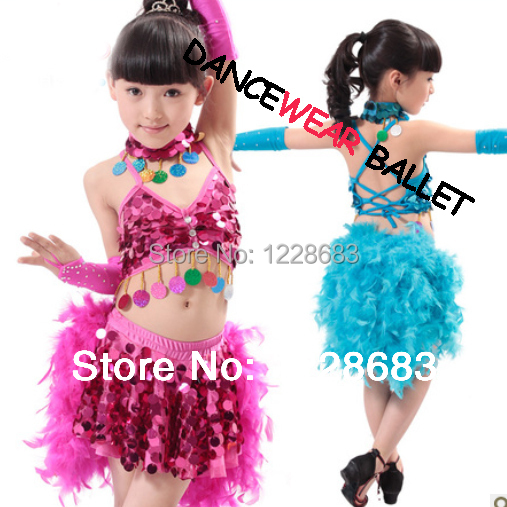 Sequin Glitter Beading Bling Feather Dance Dress Costumes Latin For Kids / Costumes Latin Dance Girl