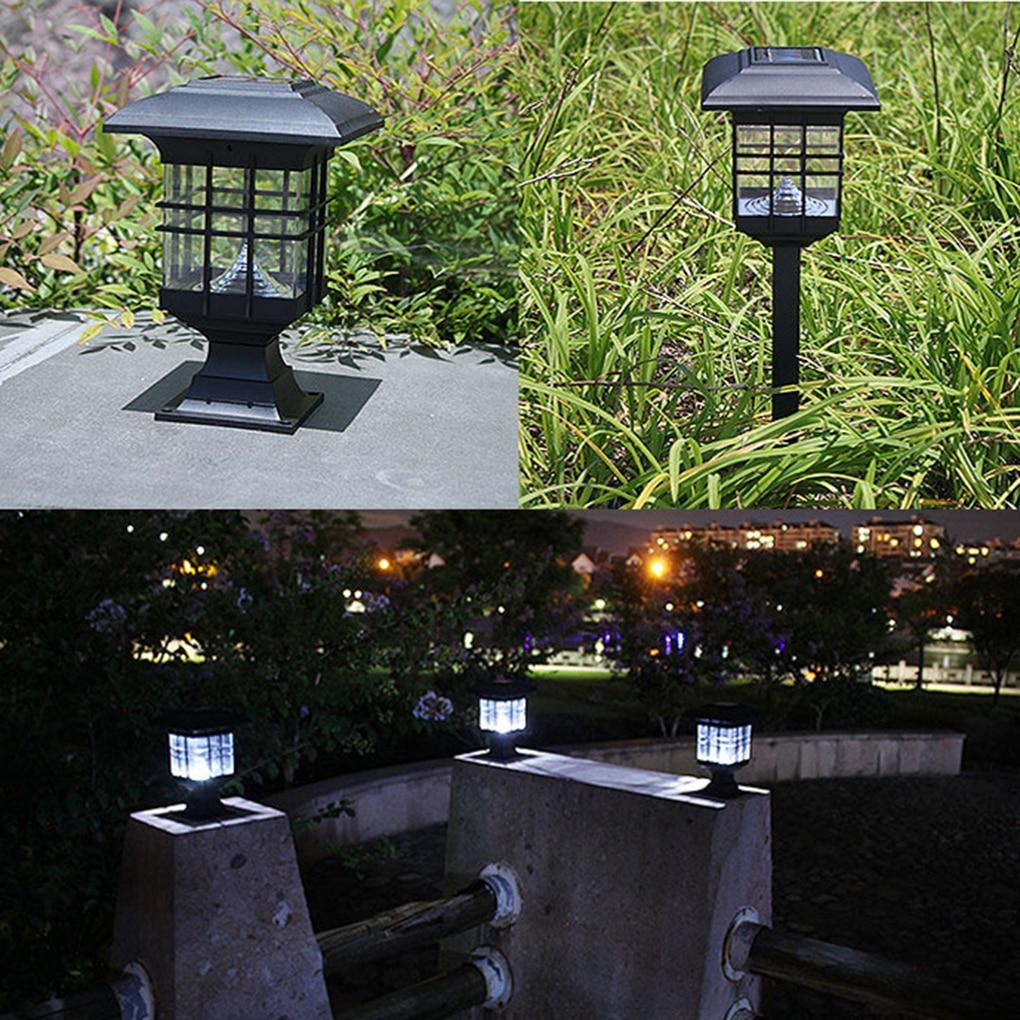 outdoor solar powered led garden yard bollard pillar light post lamp 3 led blubs - Bollard Lights