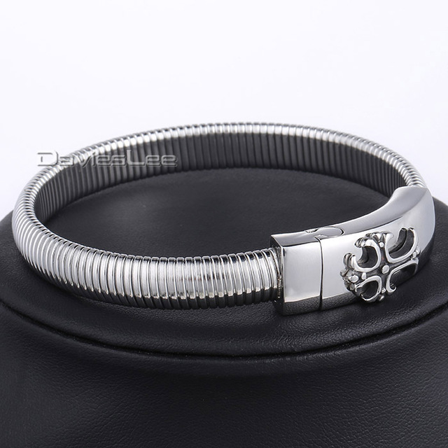 10mm Silver Gold Plated Elastic Flexible Herringbone Link Wristband 316L Stainless Steel Bracelet  Mens Jewelry DLHB368