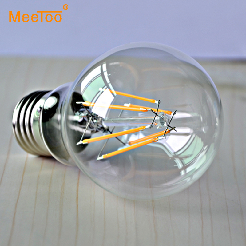 1PCS A60 2W 4W 6W 8W  E27 Led Filament Bulb Lamp Clear Glass Cover Edison Style Lights For Indoor Home Lighting AC110 127V 220V