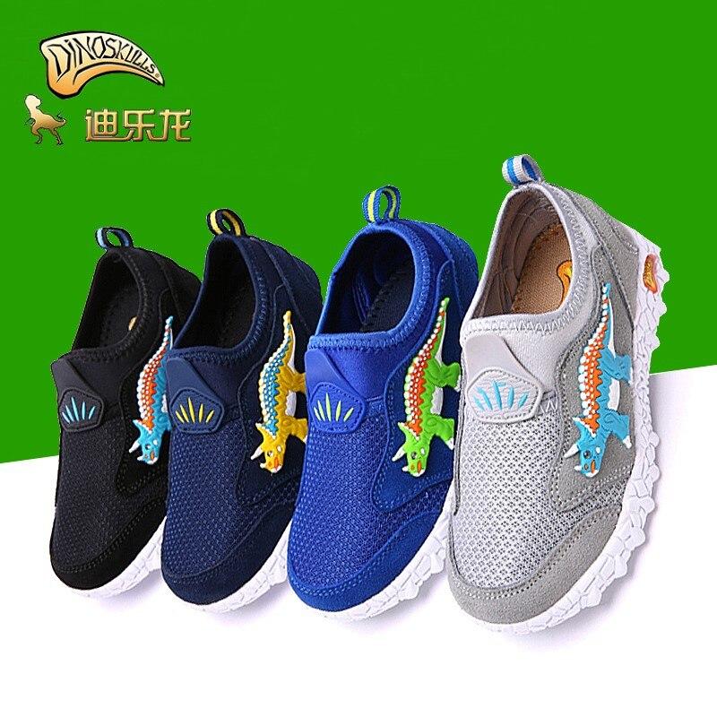 Dinoskulls Children's Spring Tennis Shoes Dinosaur Boys Leisure Mesh Breathable Kids Slip-on Light Running Shoes For Boys 27-36#