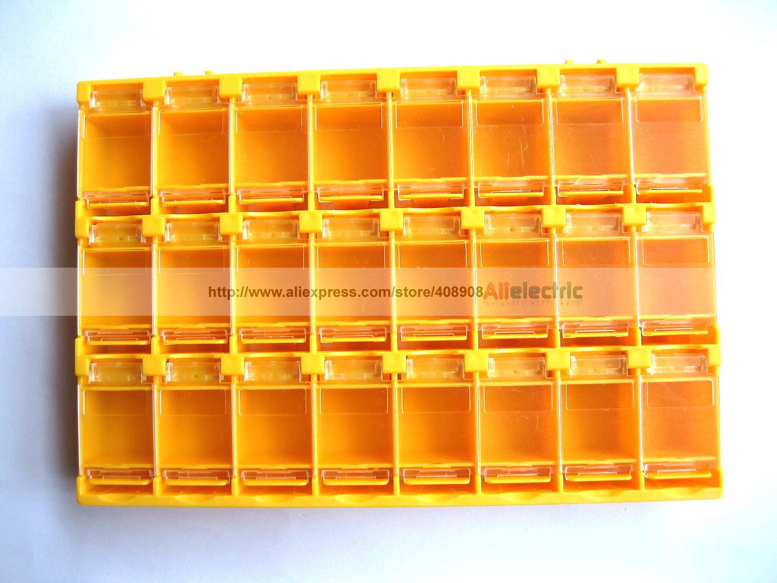 2 Pcs SMT Electronic Component Mini Storage Box 24 Grid Orange T156 lodestar electronic component box 8 section