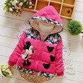 Venda quente 2016 Meninas Do Bebê Inverno Jaquetas Com Capuz Moda Casacos Crianças Minnie Crianças Ao Ar Livre Parka Quente Flores de Algodão-acolchoado casacos