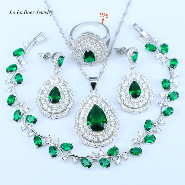 L B Green 925 Sterling Silver Wedding Jewelry Sets Water Drop Big Earrings  Crystal Dubai Simple Style Silver Color Jewelry a8187c6c5f24