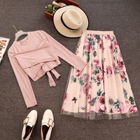 Spring Autumn 2 Piece set Women Irregular Long Sleeve T Shirt+Mesh Skirts Suits Bowknot Solid Tops Vintage Floral Skirt Sets