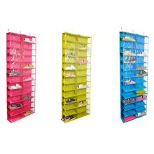 Hot Closet ware Clear Over-the-Door 26-Pocket Shoe Organizer, Washable Polyester Shoe Rack, Hanging Shoe Storage Bag