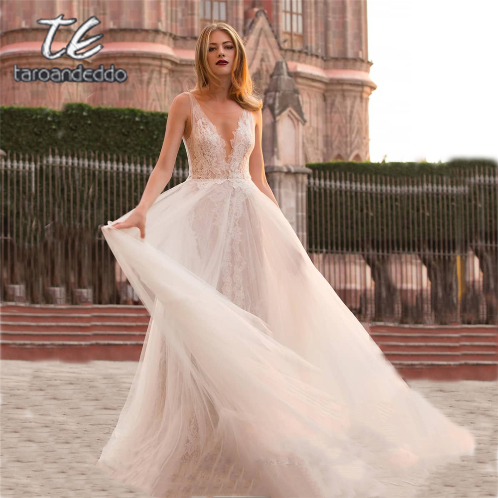 Scoop Illusion Tulle Lace Wedding Dresses A Line Applique Sleeveless Bridal Gown Dress Vestido De Noiva with Back Buttons-in Wedding Dresses from Weddings & Events    1