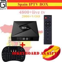 Испания Android ТВ коробка TX9 Pro Android 7.1 4 К UHD 3/32 г ТВ коробка + Испания голландский исрил Европа Арабский IP ТВ + VOD Smart Отт set top box