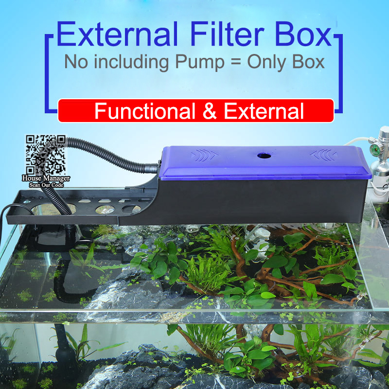 Aquarium External Filter Box for pump,water box for circulation system, Adjustable length 24~60cm filter container for fish tank Картофель фри