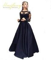 Black Two Pieces Evening Dresses Long Sleeves Lace Applique Prom Party Dresses Robe De Soiree