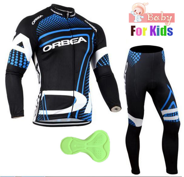 Orbea Children's Pro Team Cycling Jerseys Long Sleeve Winter Warm Cycling Clothing Set Ropa Ciclismo KIds Bicycle Clothing Suits top quality racing cycling club pink stripe cycling jerseys pro team tight fit long sleeve cycling clothing bicycle shirt