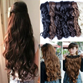 Clip On Hair Extension 27inch one piece 100% Natural Smooth Hairpieces Hair Piece Wavy Curly Clip In 3/4 FULL HEAD