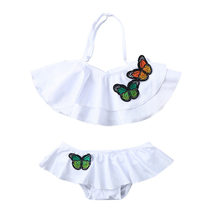 Kids Baby Girls Ruffles Butterfly Print Summer Swimwear Swimsuit Bikini mermaid swimsuit for girls Outfits JAN18(China)