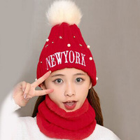 1 Pcs New Letter NEWYORK Pearl Stars Knitted Caps Brand Winter Warm Skullies Beanies Hats And