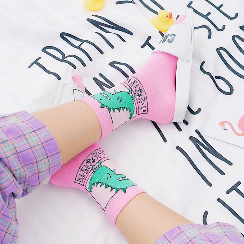 Summer Harajuku Cartoon Women Dinosaur Patterned Cute Funny Dinosaur Hipster Skateboard Girls Cotton   Socks   Modern Creative Sox