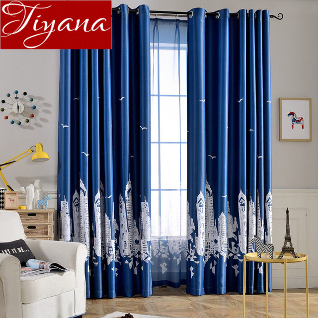 Cartoon Castle Blue Curtains Kids Room Sheer Voile Modern Window Living Room  Curtians Tulle Drapes Fabrics Rideaux Tu0026254 #30