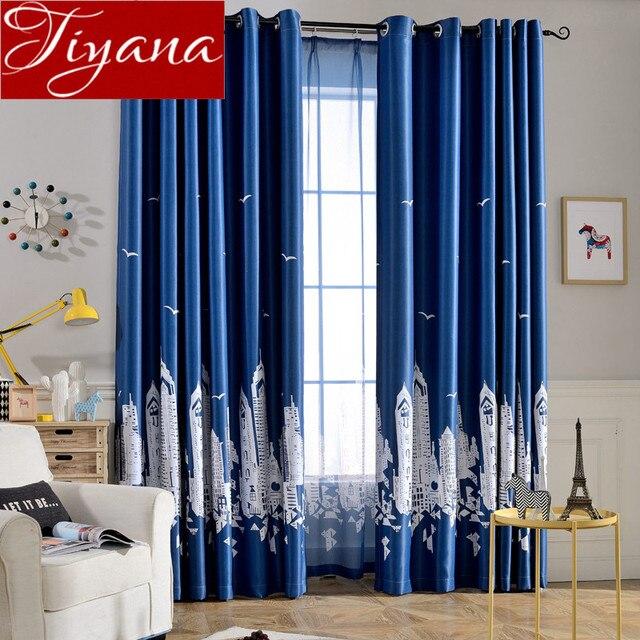 chteau de bande dessine bleu rideaux chambre denfants sheer voile moderne fentre salon curtians