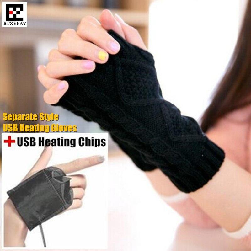 120p Winter Warm Girl Student Homework Separate Style USB Heating Gloves,Women Office Hand Back Heated Knitted Fingerless Gloves