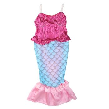 2018 nowych dzieci dziewczyny bikini z ogonem syrenki Swimmable strój kąpielowy kostium kąpielowy kostiumy 4-12Y
