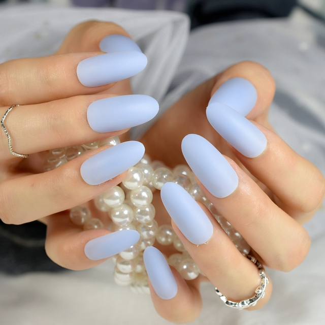 Matte Sky Blue Nail Art Tips Salon Quality Super Long Oval False ...