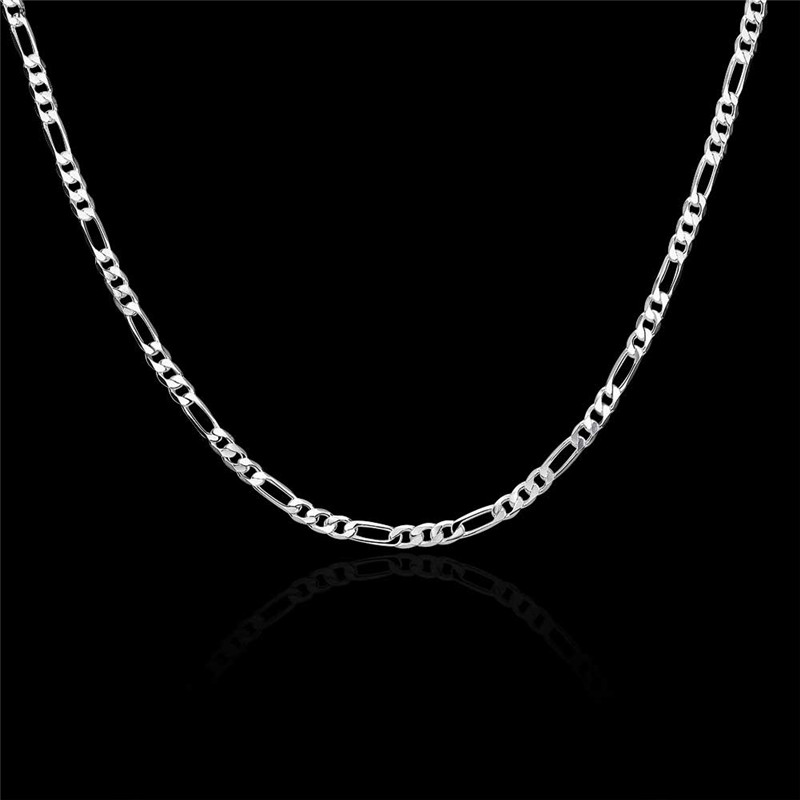 16 30 inches 4mm figaro silver chain necklace fashion men for Best mens jewelry sites