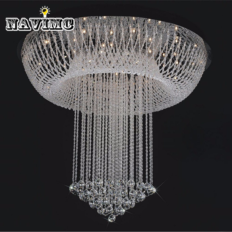Modern Minimalist LED Crystal Chandelier Living Room Light Staircase Oval Ceiling Lamp Creative Bedroom villa chandelierD80*H100