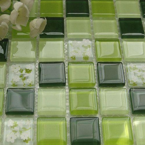 Grüne Blume Kristall Glasmosaik Mittelmeer Für Schwimmbad Badezimmer Dusche  Fliesen Wandmosaik Küche Backsplash