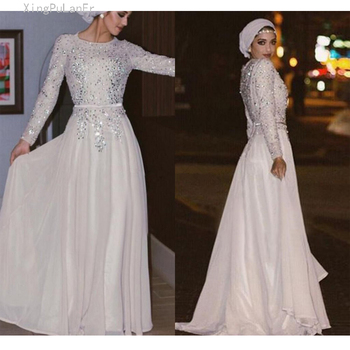 A Line O Neck Muslim Evening Dresses 2019 Long Sleeves Beaded Formal Islamic Dubai Kaftan Saudi Arabic Long Evening Gown