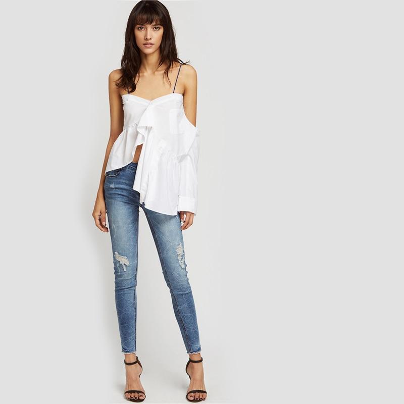 8ed6ed0fe5 SHEIN Bleach Wash Ripped Skinny Jeans Summer Blue Boyfriend Jeans ...