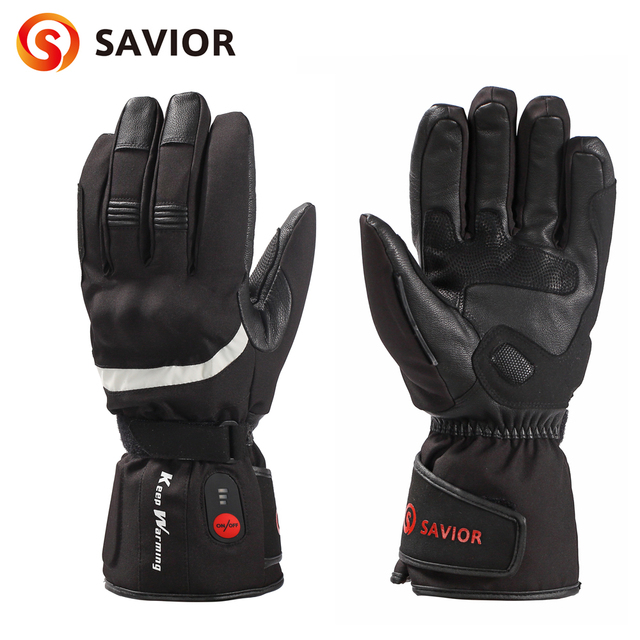 New Savior Genuine leather motobike heated glove riding racing biking 3 levels Reflective strip heating gloves man keep warming