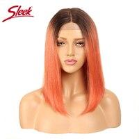Sleek прямо боб парик бразильский Синтетические волосы на кружеве человеческих волос парики для Для женщин Волосы remy часть кружева парик Ombre в
