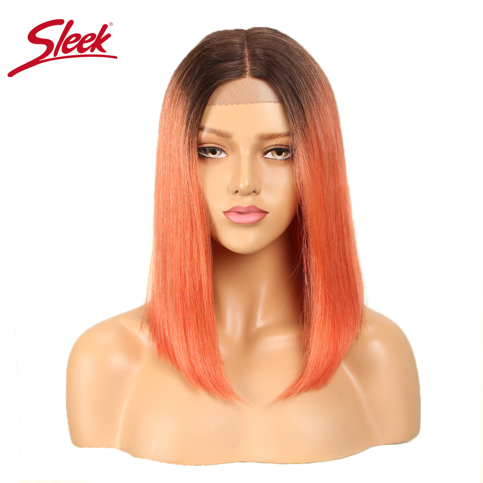 Sleek Straight Bob Wig Brazilian Lace Human Hair Wigs For Women Remy Hair Part Lace Wig Ombre Pixie Cut Wig Free Shipping