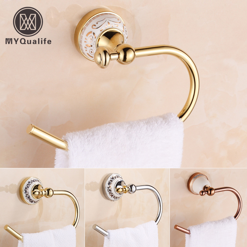 Free Shipping Wholesale and Retail Brass Towel Ring Wall Mounted Towel Rack Rail Gold /Chrome/Rose Gold
