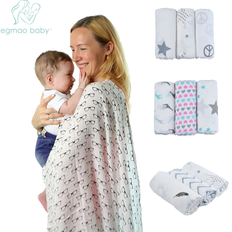 120x120cm 100% Organic Cotton Envelope Muslin Baby Swaddle Blankets 100% Natural Fabric Super Soft Muslin Swaddle For 0-3Yrs