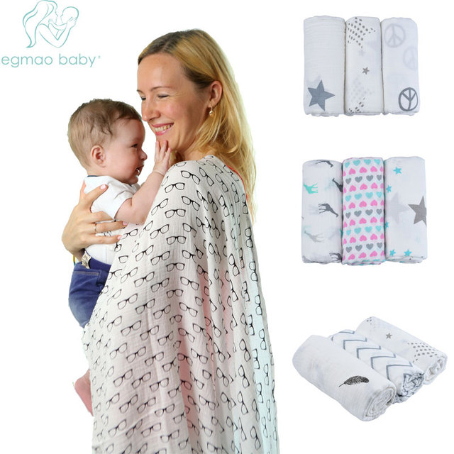 120x120cm 100 Organic Cotton Envelope Muslin Baby Swaddle