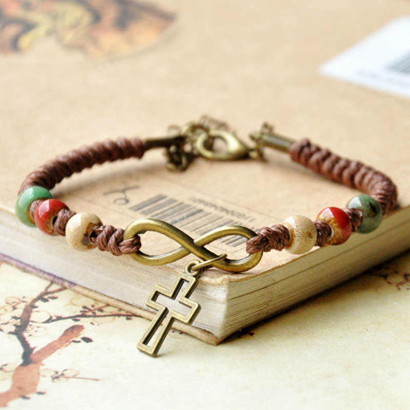 Cross Bracelets Infinity Pendant Ceramic Beads Women Men Weave Rope Chain Cuff Bangle Wristbands Fashion Charm Jewelry