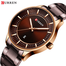 цена на CURREN Rose Gold Case Mens Watch Business Quartz Wrist Watches Date Function Waterproof Brown Stainless Steel Band Clock Relogio