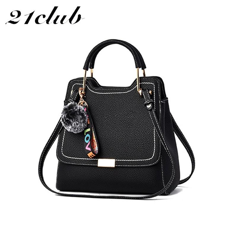 21club brand ladies litchi pattern large capacity totes hairball strap fashion office party shoulder crossbody bag women handbag
