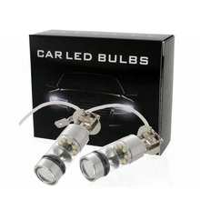 2pcs H3 100W White LED Car Auto Fog Lights 20LED Parking Driving Running Lamp Front Lighting