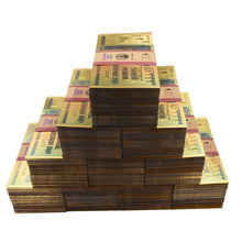 1000PCS/LOT Colored Gold Zimbabwe 24K Banknote One Hundred Trillion Dollars with Security Label/UV Light for Gambling Money