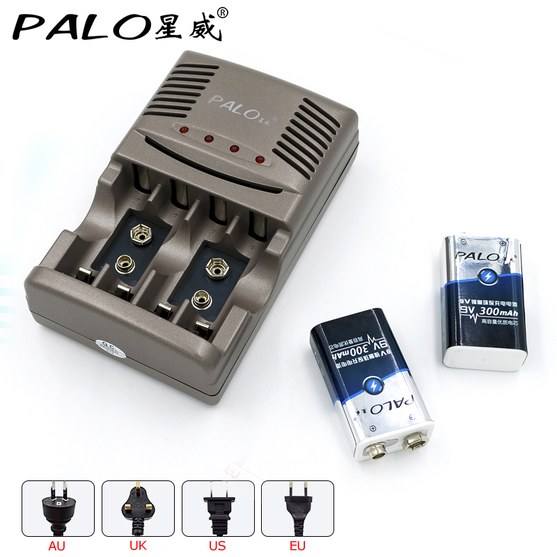 2pcs PALO 9V 300mAh NI-MH rechargeable batteries with 1800 Cycle + 2 slots inteliigent charger for 9v rechargeable battery