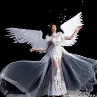 New Catwalk Models Props White Angel Feather Wings Adults Size For Dance Auto Show Party Display Supplies Free Shipping