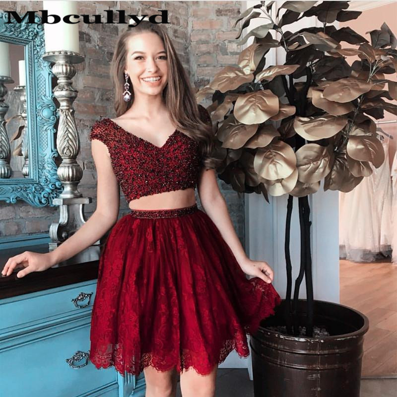 Mbcullyd Two Pieces Short   Cocktail     Dress   2020 Beaded Applique Lace Mini Formal Party Gown Cheap Vestidos De Fiesta