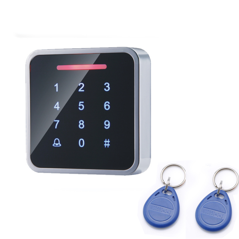 2016 Newest design Metal case Touch keys 125KHZ RFID +password access control system DC12V free send 10pcs cards