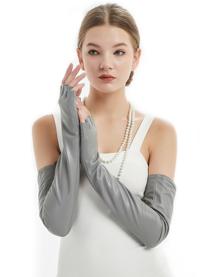 60cm 23 6 quot long real sheep leather fingerless no finger opera evening gloves grey in Women 39 s Gloves from Apparel Accessories