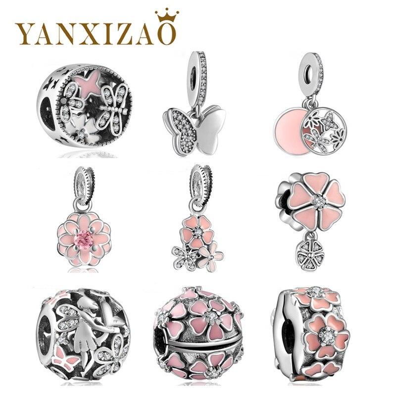 Подходят оригинальный Pandora Талисманы браслет стерлингового серебра 925 Бусины розовый первоцветы с циркон цветок DIY ювелирных