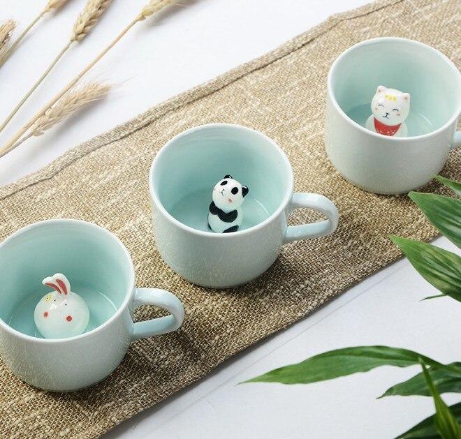 Nouveau Arrivent Creative Bande Dessinée Tasses En Céramique Mignon Animal Café Thé Au Lait Tasse 220 ml Nouveauté D'anniversaire Cadeaux Tasses