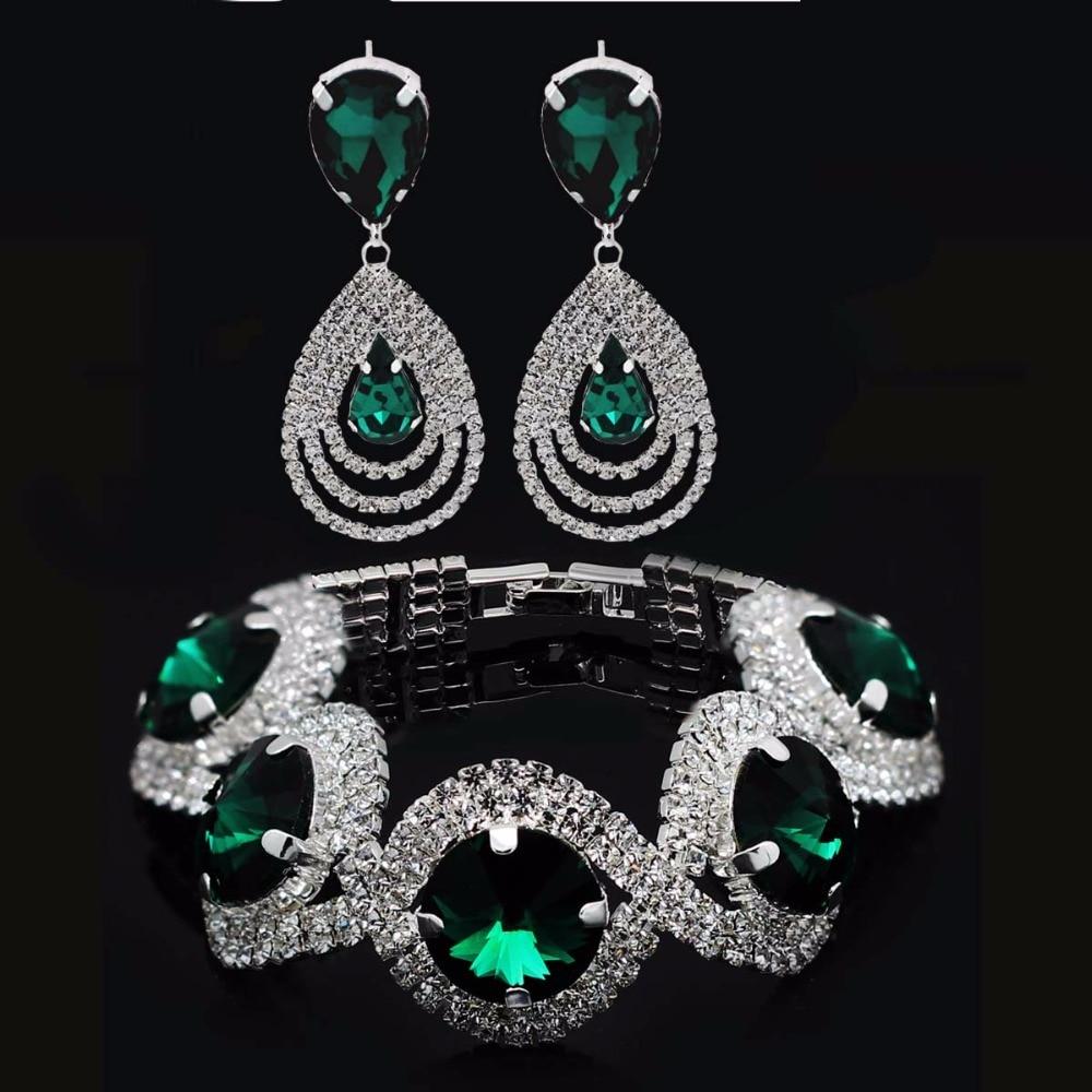 ba2a812187bb Juego de joyas de lujo para niñas, pendientes de pulsera de diamantes de  imitación verde austriaco
